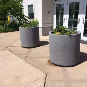 3ft Round Outdoor Concrete Planter W/ Toe Kick