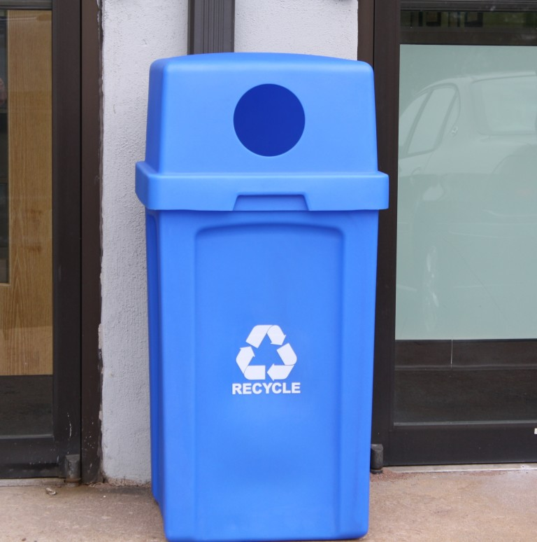 40 Gallon Square Plastic Recycling Receptacle