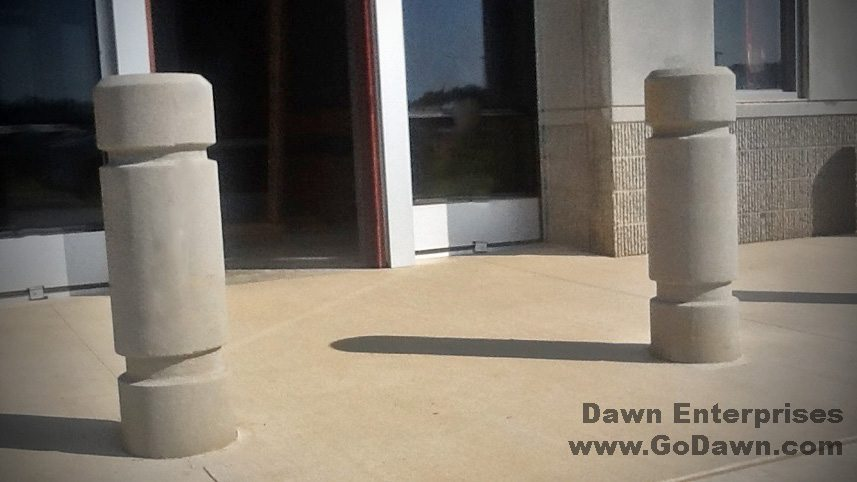 12 Inch Concrete Bollard With 2 Reveals and Chamfered Top