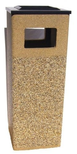 "38"" Square Stone Combination Waste Receptacle/ Ashtray"